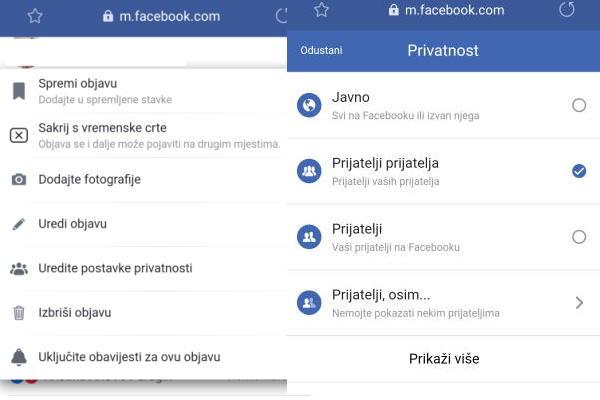 Podesite svoje postavke privatnosti na Facebooku